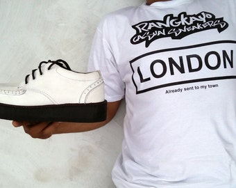 white leather creepers shoes handmade Platform wedges Oxford Brogue Rangkayo