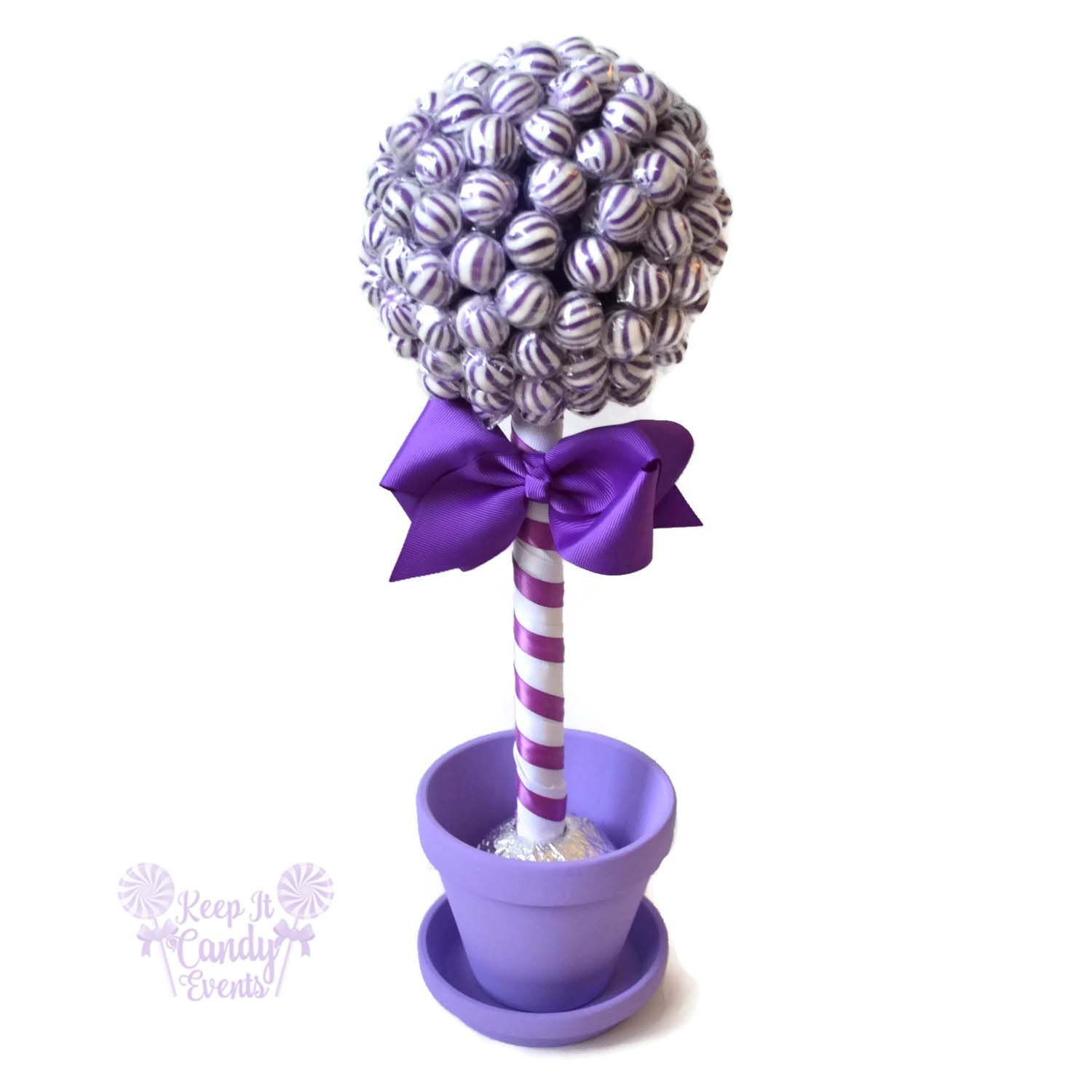 Purple lollipop topiary candy wedding