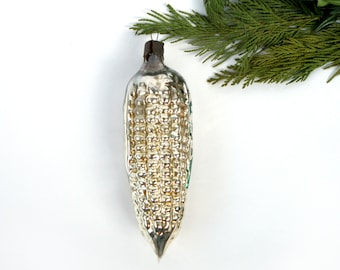 Silver Corn Christmas Glass Ornament Christmas Tree Decorations Vintage vegetable bulb Xmas Mercury Glass Corn Holiday decor bauble 1960s