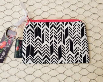 Credit card pouch, Small zipper pouch, Coin purse, Black and white