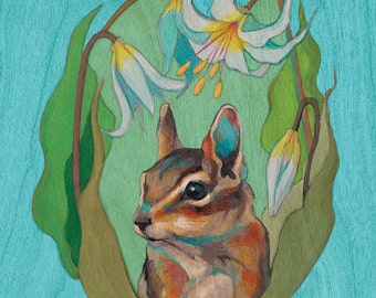 Print or Note Card: Least Chipmunk with Avalanche Lily