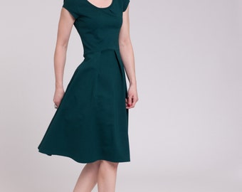 Handmade fit-and flare Ponte dress Anni in dark green