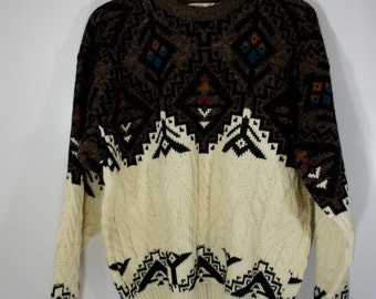 Vintage Oversized Men's London Towne Wool blend sweater Cable Ivory with brown geometric border Nordic Size Large Made in USA