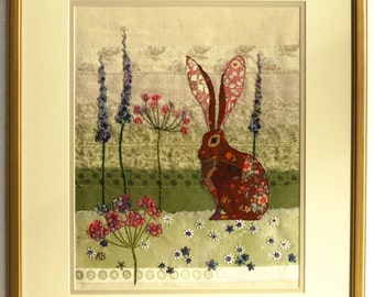 Hare meadow embroidery original textile wall art