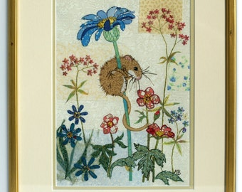 Mouse embroidery original textile wall art