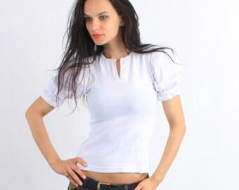 Vintage Trachten White Cotton Puff Sleeve Crochet Ruffle Blouse / Top Size S