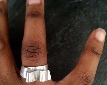 Sterling silver statement ring, silver wrap ring, contemporary silver ring, handmade silver ring, unique silver ring, gift for woman