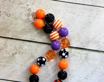 Halloween chunky bead necklace bubblegum beaded necklace chunky bead necklace for girl bubblegum purple orange black lime green
