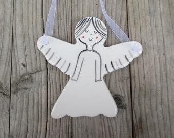 Angel,Cute Pottery Guardian Angel,Baptism Gift,White,Minimalist Angel,Cute Angel,Christening Girl,Godmothers Gift,Pottery angel,Angel