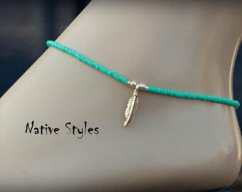 Dainty Boho Beaded Ankle Bracelet~Seed Beaded Anklet~Feather Pendant~Minimalist Native Bead~Thin Turquoise~Beaded Bohemian Style~BOHO Anklet