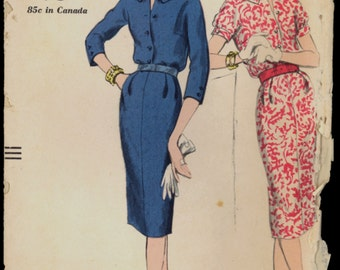 1950s Size 14 Bust 34 Easy Sheath Dress Vogue 9676 Vintage Sewing Pattern Retro to Make 50s