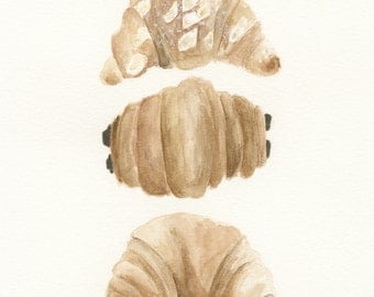 French Pastries, Croissants, Paris, France food, watercolor painting, Croissant aux Amandes, Pain au chocolat