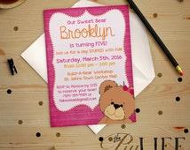 Birthday Invitation | Teddy Bear Stuffed Build a Bear Inspired Birthday Invitation Printable DIY No. I141