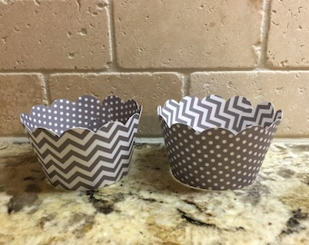 12 Cupcake Wrappers - Gray Chevron and Gray w/ White Polka Dots - Double-sided cupcake wrapper