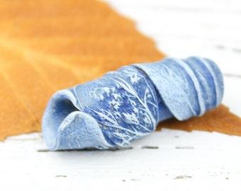 Tree Wings Studio Polymer Clay Queen Anne#39;s Lace Focal Bead in Dusty Denim Blue, Artisan, Destash