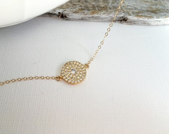 Gold CZ Coin Necklace, Rose Gold Round Disc Crystal Necklace, Silver CZ Diamond Round Necklace, Gold CZ Circle Pendant