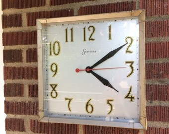 1940s Sessions Industrial Wall Clock Model W