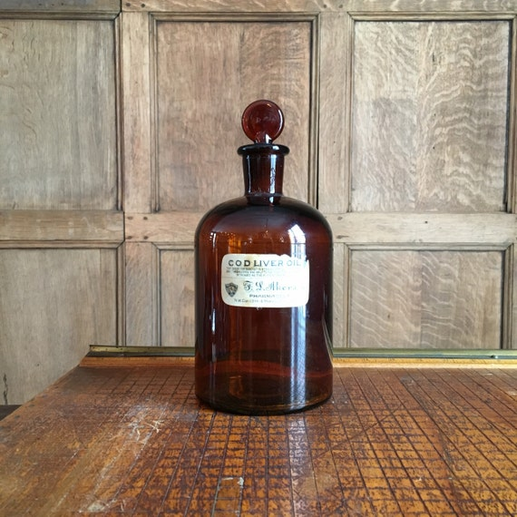 Large Antique Apothecary Bottle 1800s Dark Amber Pharmacy