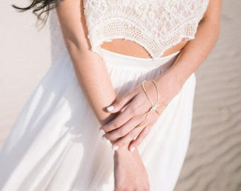 Silver or Gold Slave Bracelet, Silver or Gold Bridal Ring Bracelet, Silver or Gold Wedding Bracelet, Bridal Slave Bracelet, Bridal  Bracelet