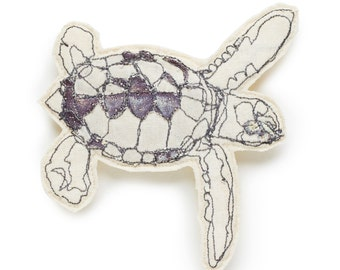 Turtle Embroidered Brooch