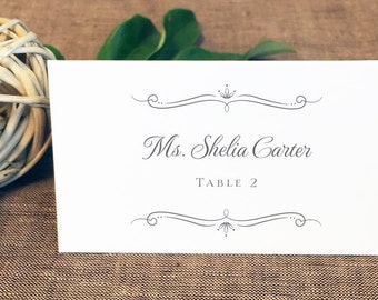 Printed Romantic Script Wedding Place Cards