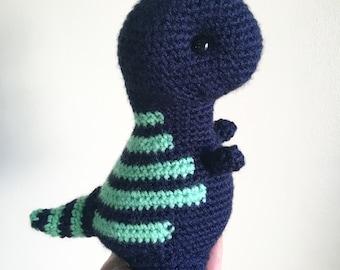 Kawaii T-Rex Stuffed Toy, crochet dinosaur plush, navy blue dinosaur, t-rex nursery decor, dino decor, baby boy dinosaur, kawaii amigurumi