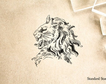 Stone Lion Profile Rubber Stamp - 2 x 2 inches