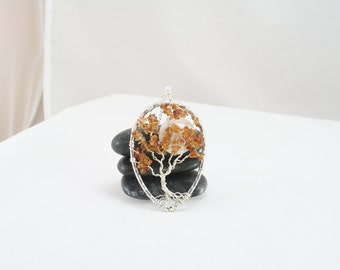 Fall Harvest Tree of Life Pendant  Citrine Tree of Life Teardrop Citrine Necklace Handmade Jewelry Wire Wrapped Tree Pendant