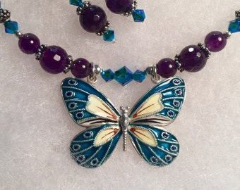 Natural Amethyst Necklace Set wSterling Silver Butterfly