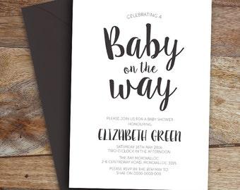 Baby Shower Invite, Monochrome, Printable file, Digital File, DIY Invite