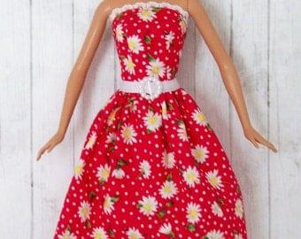 Barbie Clothes, White Daisies, Red and White,  Polka Dots,  Barbie Dress, Farm Girl Dress, Doll Dress, Fashion Doll Clothes, Handmade Dress