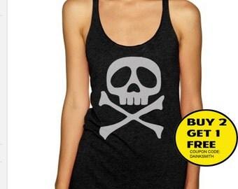 SKULL women tank top Shirts Tank Top T Shirt Singlet - Size S M L XL