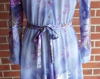 Vintage Long Sleeve Dress Purple Floral Print Dress