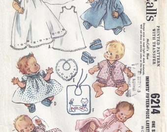 1961 McCalls 6214, Infants' 15-Piece Layette, One Size