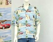 Vintage 90s Rayon Disney Hawaiian Shirt, Mickey Mouse Shirt, Novelty Shirt, Aloha Shirt, Car Print Shirt, Summer Resort Wear
