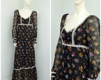 Vintage 70s Black Label Gunne Sax Black Floral Dress, Gauze Maxi Dress, Boho Dress, Bohemian Dress, Renaissance Dress, Lace Up Dress