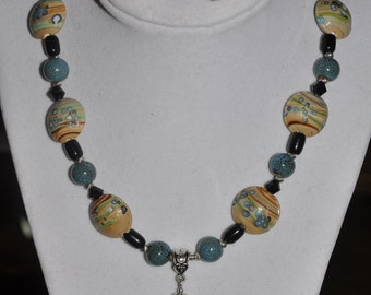 Necklace and Earrings Set Painted Agate Lampwork Beads Blue Tan #340