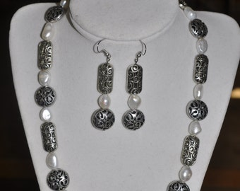 Necklace Earrings Set Brighton Inspired Freshwater Pearl Silver #65