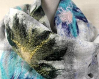 Felted shawl flowers for women. Scarf, wrap, handmade. wool, silk.