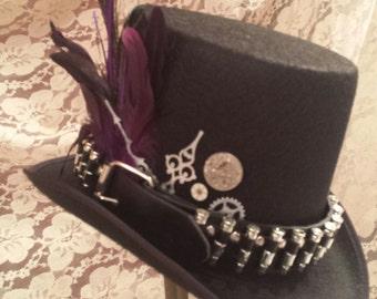 STEAMPUNK Top Hats,Steamunk Shop, Steampunk Outfits, Black Top Hat, Bullet Belt, Clock Parts