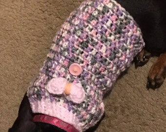 Pink and Grey Bow Dog Sweater