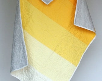 Yellow and Grey Ombre Quilt