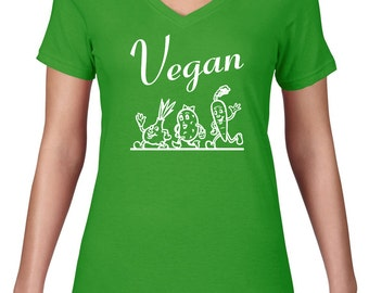 Women's V Neck, Vegan T Shirt, Vegan Tshirt, Funny Tshirt, Ringspun Cotton Vneck Tee, Funny T Shirt, Vegetable Tshirt, Semi Sheer