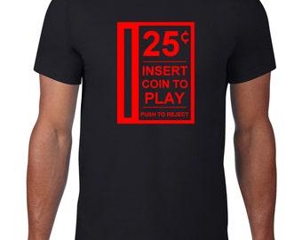 Video Game T Shirt, Funny Tshirt, Insert Coin Tee, 80s Arcade Machine, Pinball Tshirt, Funny T Shirt, Ringspun Cotton, Mens Plus Size