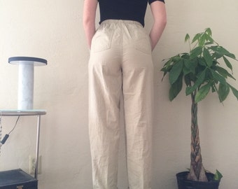 Beige Plaid Drawstring Pants