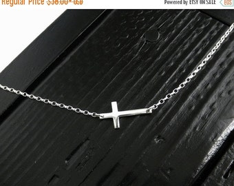 ON SALE Sterling Silver Sideways Cross Necklace, Silver Sideways Cross Necklace, Sideways Cross Necklace, Cross Necklace
