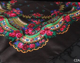 Black BIG shawl scarf with flower patterns and fringes POLISH folk fashion SLAVIC colors