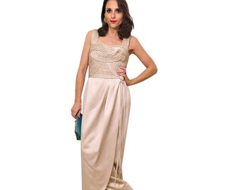 victor costa tulip gown / 90s designer vintage champagne formal maxi / size small