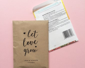 50 Let Love Grow - Kraft Favor Paper Bags - Wedding Favors