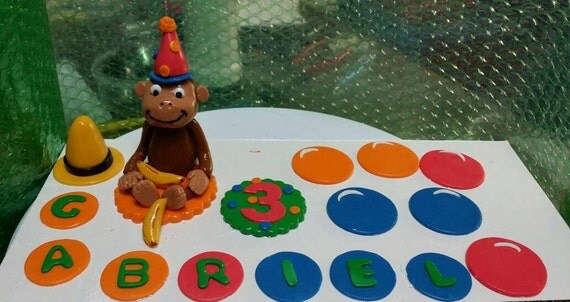 Edible Cake Images Curious George : Edible fondant Curious George monkey and balloon cake topper